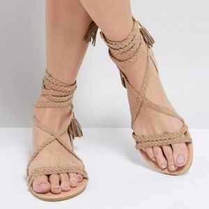 Laced-up Wrap Sandals